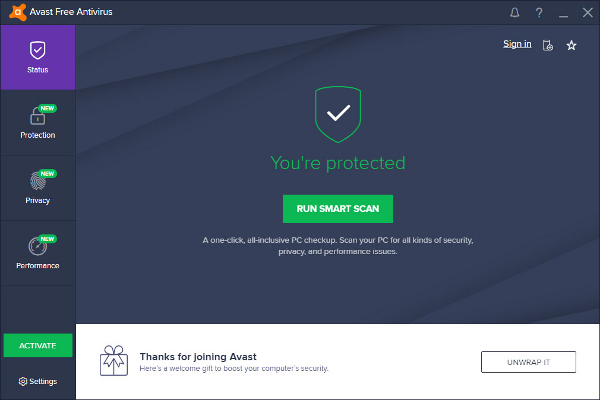 Avast Installation completed